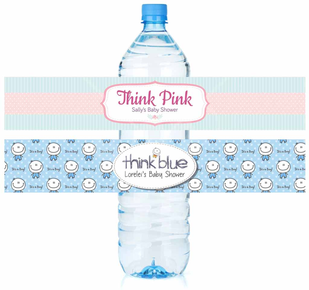 100 Water Bottle Labels Baby Shower